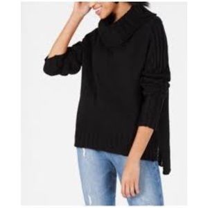 Hooked Up by IOT Cowl Neck Knitted Black Sweater
